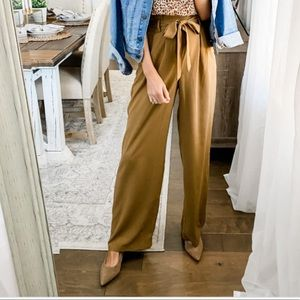 a new day Tan Paperbag High Waisted Front Tie Pant